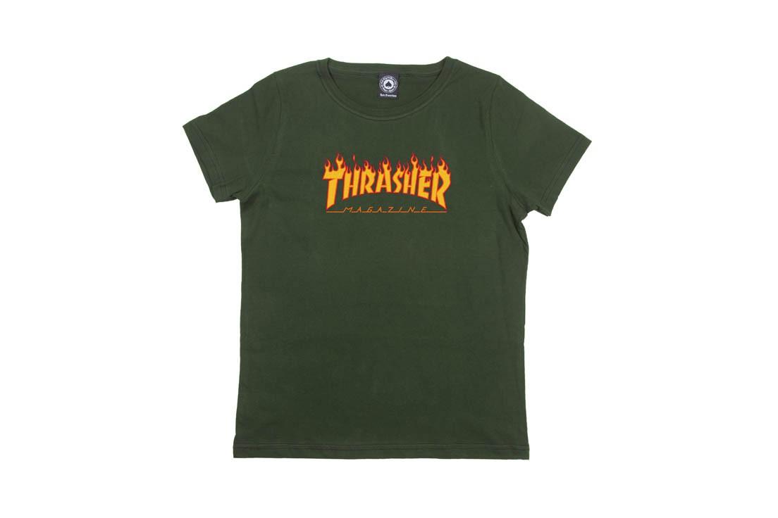 Camiseta Thrasher Flame Girl Feminina - Verde Forest