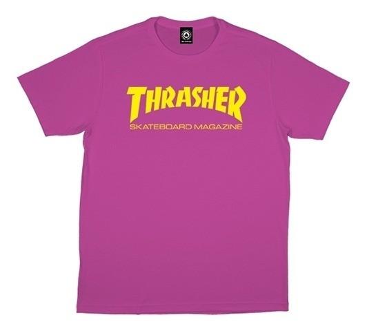 Camiseta Thrasher Mag Feminina Rosa Logo Amarelo