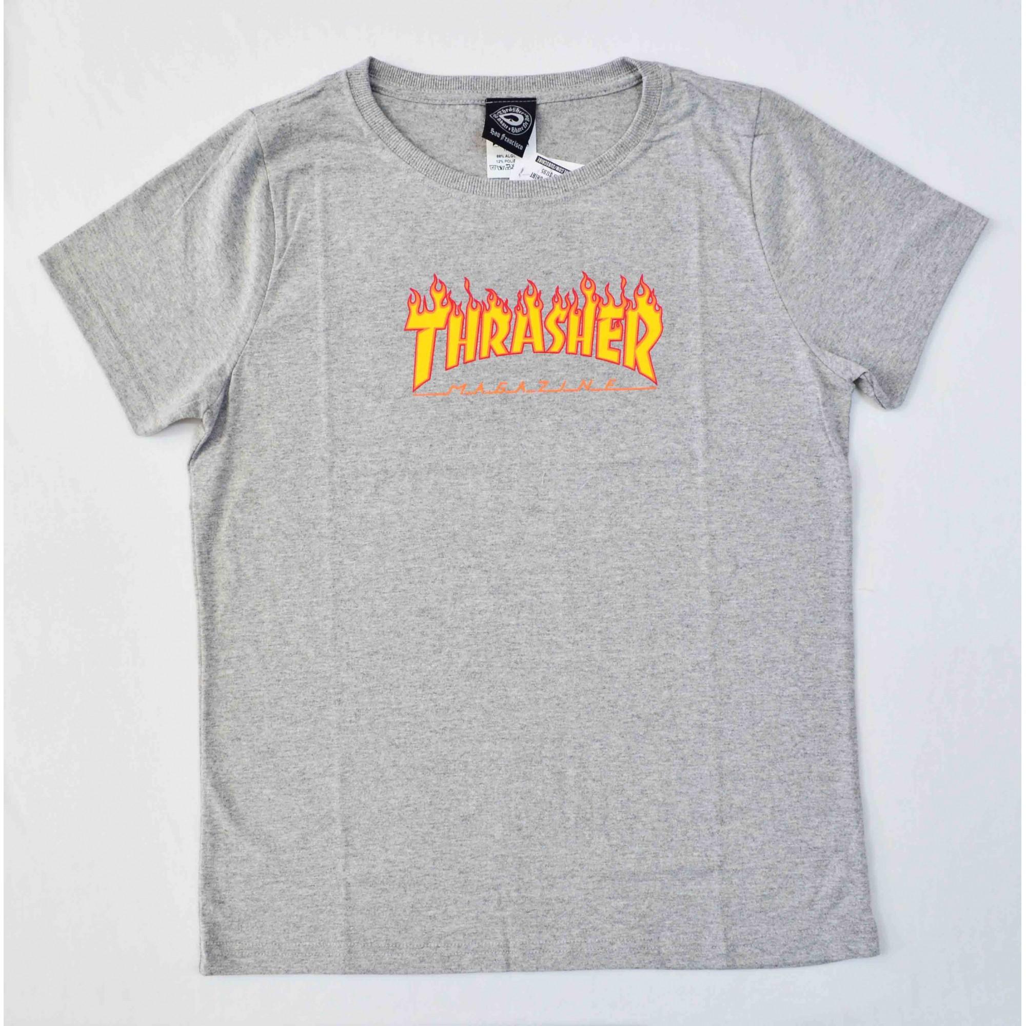 Camiseta Thrasher Feminina Flame Cinza