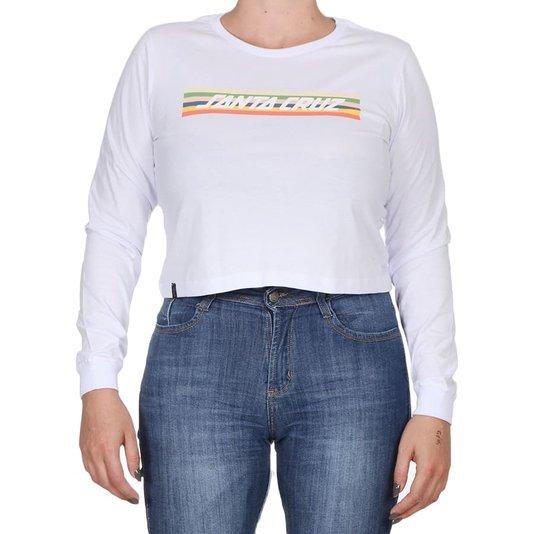 Camiseta Santa Cruz Feminina Stripe Cropped Manga Longa