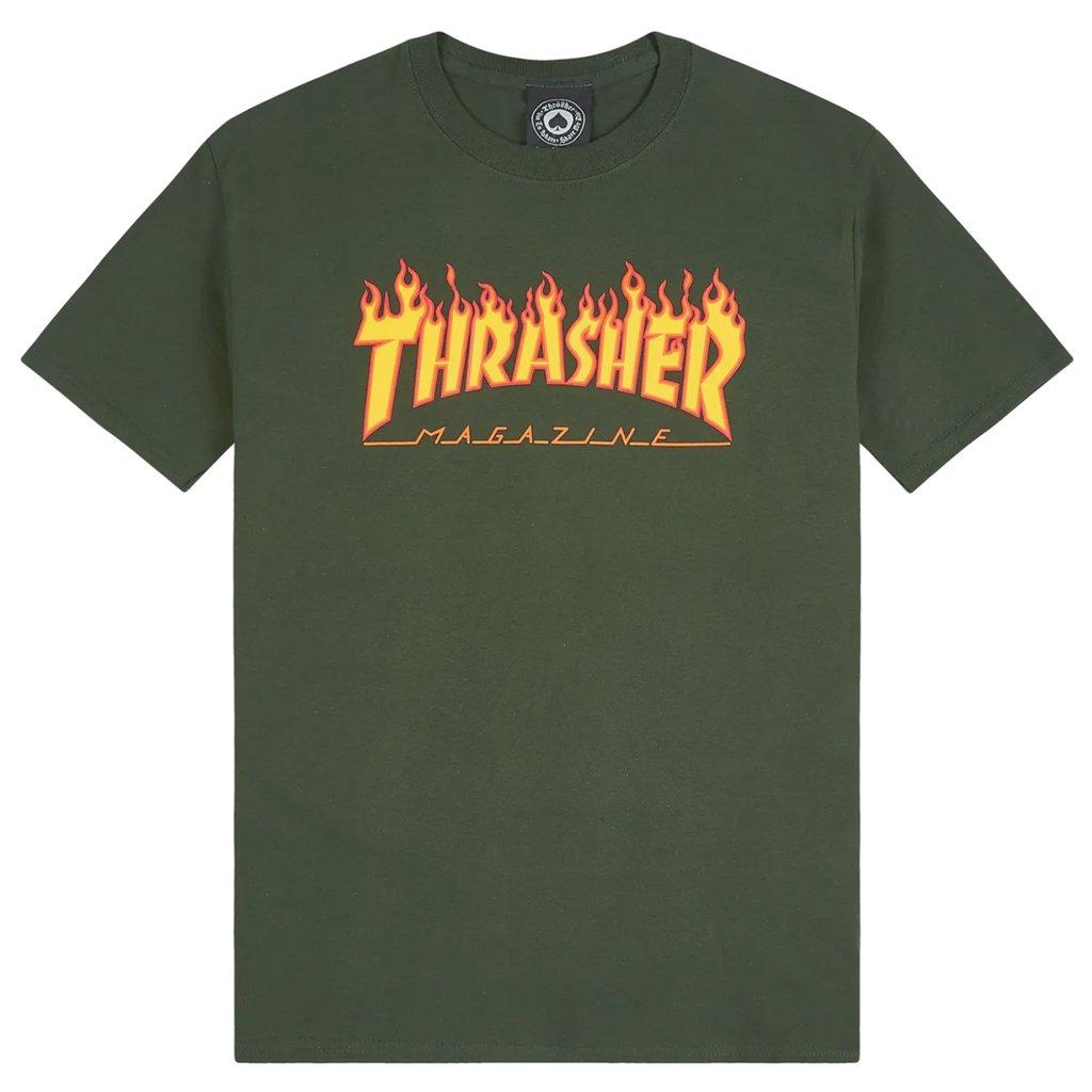 Camiseta Thrasher Flame Logo Verde Forest