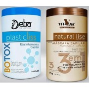 Combo Duo Botox Capilar Detra Plastic Liss 1Kg + Máscara Natural Lise 1Kg Vitalise - R