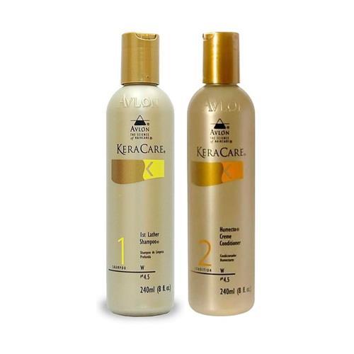 Avlon KeraCare Humectação dos fios - Shampoo First Lather 240ml +  Avlon Humecto Creme Condicionador 240ml - G