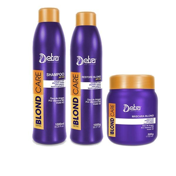 Detra Blond Care Shampoo 1L + Restore 1L + Máscara 500g Grande - R