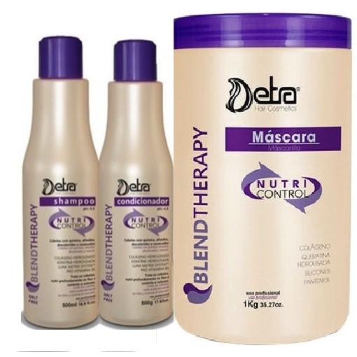 Detra Kit Nutri Control - Shampoo 2x500ml - 2xCondicionador 500ml e Máscara 1Kg - R