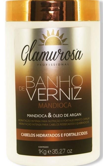 Glamurosa Banho de Verniz Óleo de Argan com Proteínas de Mandioca - Hidratação Extra Profunda 1kg