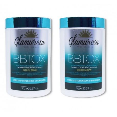 Glamurosa Redutor Capilar Capilar em massa Óleo Argan  - Kit  2x Botox 1kg