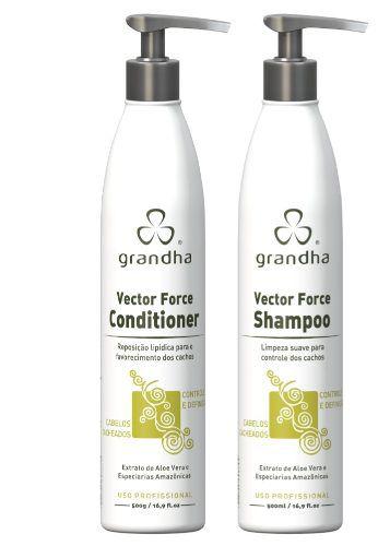Kit Grandha Curl Wave Vector Force Profissional Shampoo e Condicionador 500ml