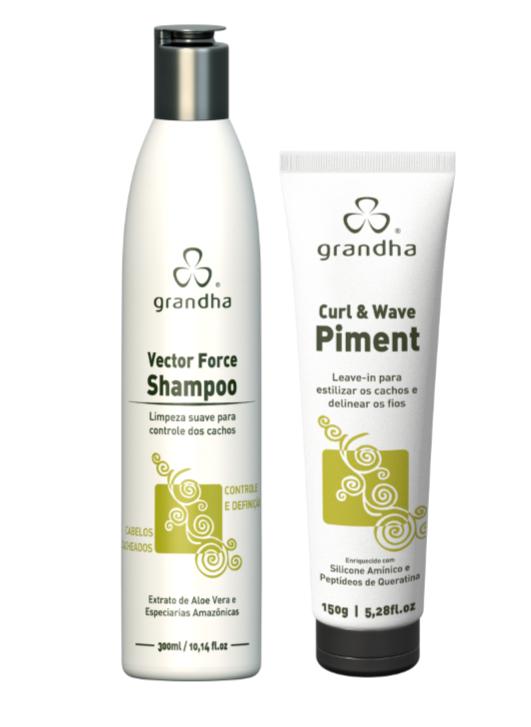 Kit Grandha Vector Force Curl Wave Shampoo 300ml e Piment 150g