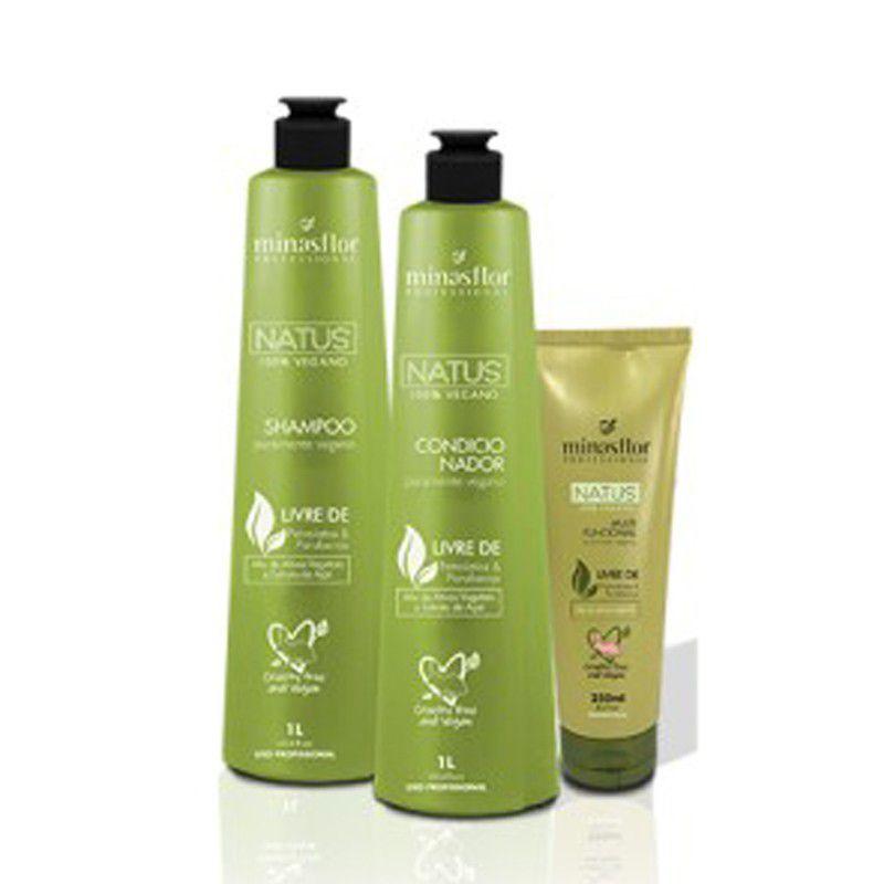 Minas Flor Kit Natus 100% Vegano - Shampoo, Condicionador 1L e Multifuncional 250ml