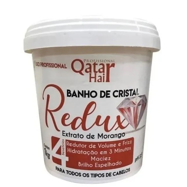 Qatar Hair Banho de Cristal Redux Morango 1kg