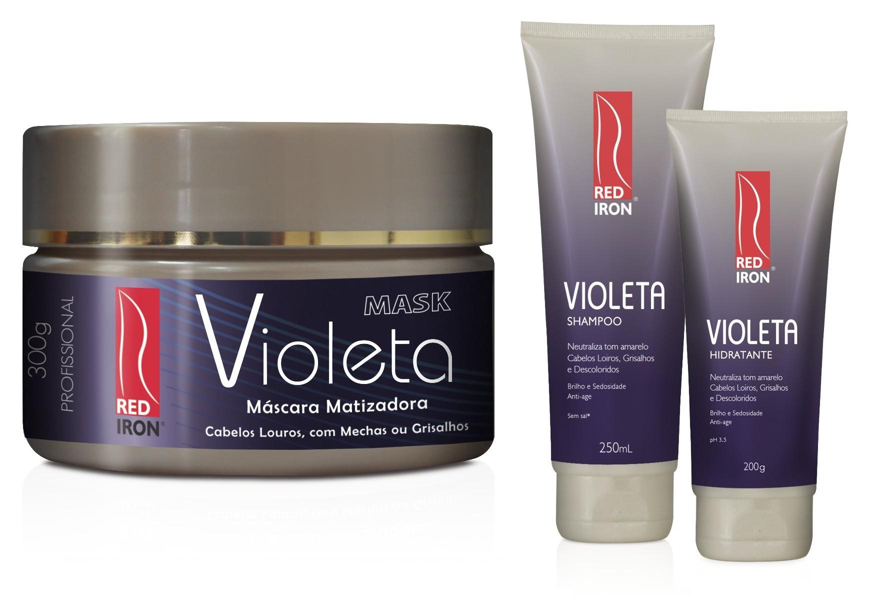 Red Iron Matizador Violeta Kit Shampoo 250ml + Hidratante Violeta 200g + Máscara 300g