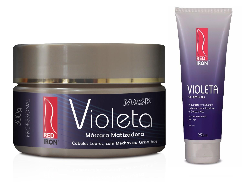 Red Iron Matizador Violeta Kit Shampoo Violeta 250g + Máscara Violeta 300g