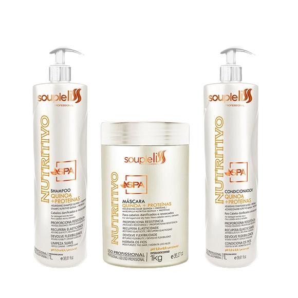 Soupleliss Kit SPA Nutritivo Shampoo+Condicionador 2x1L + Máscara 1kg