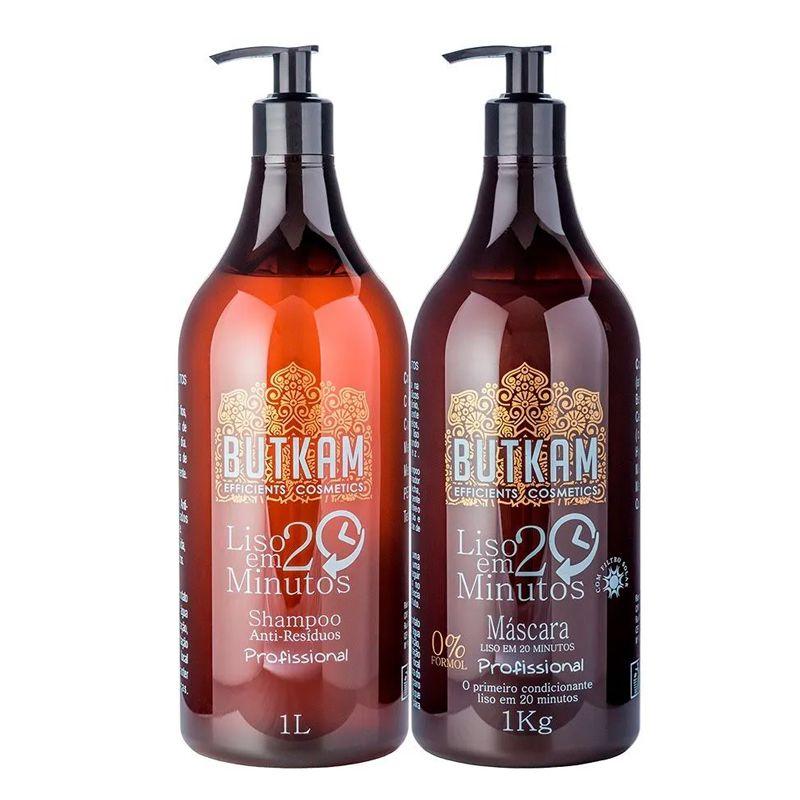 Tazin Cosméticos Butkam Liso 20 - Shampoo 1L e Máscara 1kg