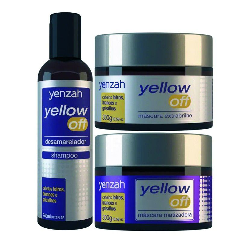 Yenzah Yellow Off Kit Shampoo 240ml + Máscara Extrabrilho 300g+ Máscara Desamareladora300g