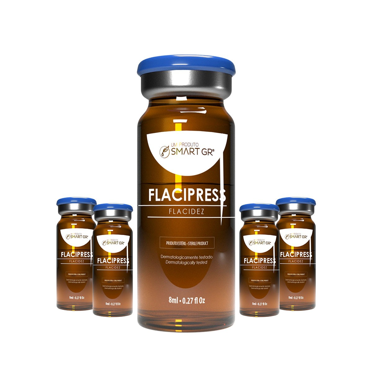 FLACIPRESS - FLACIDEZ CUTÂNEA - 5 FRASCOS DE 8 ML - SMART GR