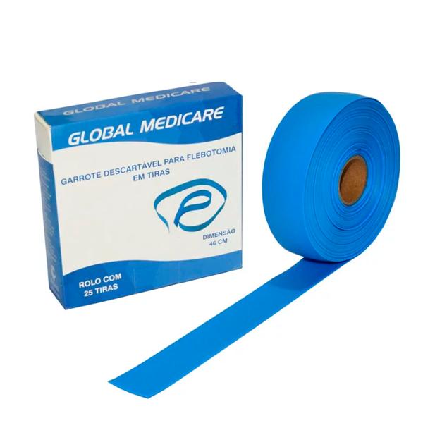 GARROTE DESCARTÁVEL PARA FLEBOTOMIA EM TIRAS GMGAR-003 GLOBAL MEDICARE
