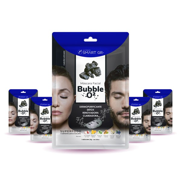 KIT 5 MÁSCARAS FACIAIS SUPERFOOD BUBBLE O² - CARVÃO ATIVADO - SMART GR