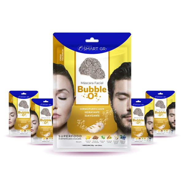 KIT 5 MÁSCARAS FACIAIS SUPERFOOD BUBBLE O² - CINZAS VULCÂNICAS - SMART GR