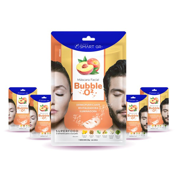 KIT 5 MÁSCARAS FACIAIS SUPERFOOD BUBBLE O² - PÊSSEGO - SMART GR