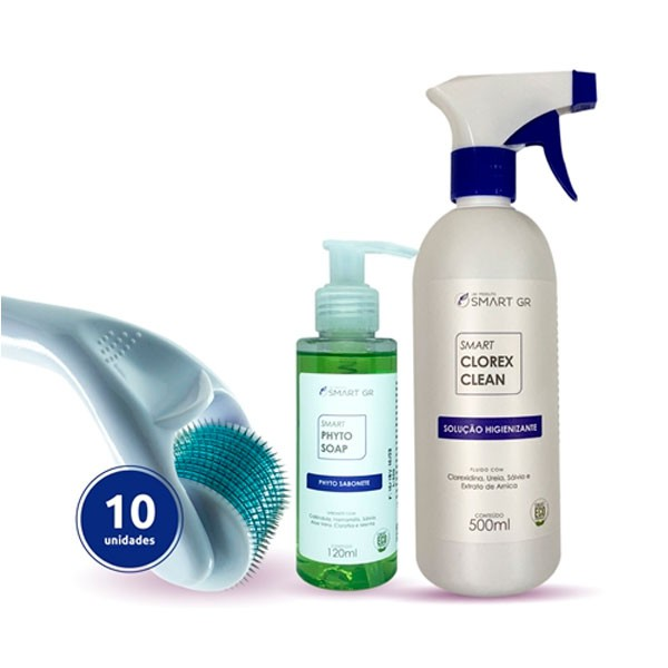 KIT DERMA ROLLER 540 AGULHAS DE 0,25MM - 10 DERMA ROLLER + CLOREX CLEAN 500ML + PHYTO SOAP