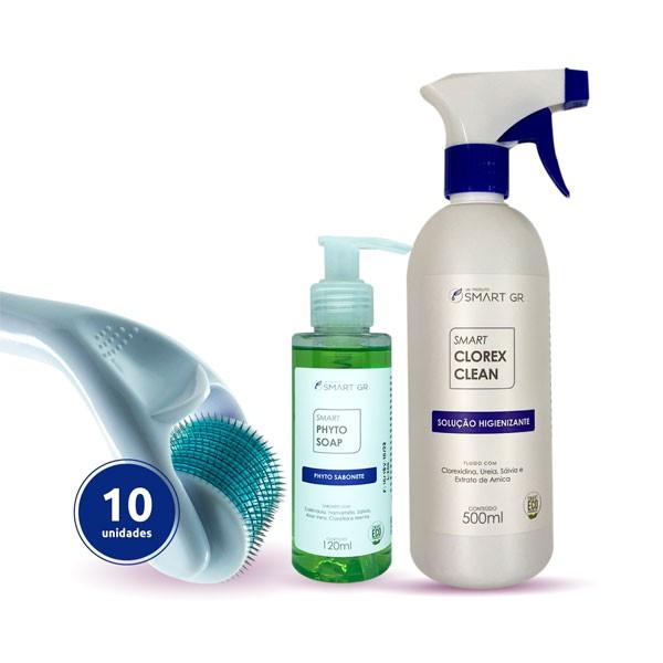 KIT DERMA ROLLER 540 AGULHAS DE 1MM - 10 DERMA ROLLER + CLOREX CLEAN 500ML + PHYTO SOAP