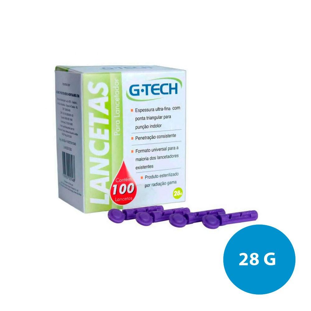 LANCETAS CAIXA COM 100 UN G-TECH