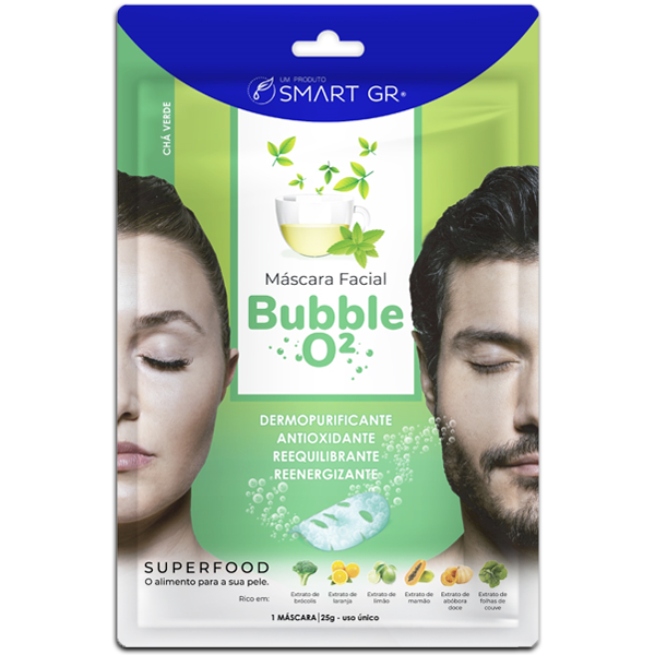 MÁSCARA FACIAL BUBBLE O2 ANTIOXIDANTE CHÁ VERDE  SMART GR