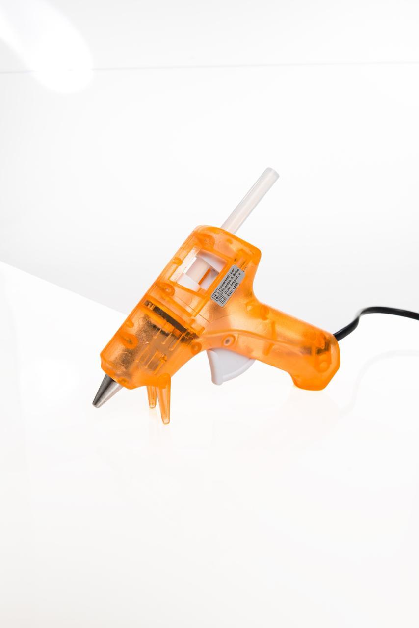 Pistola de Cola Quente Fina Artesanal 8W/20W - GM-160E Laranja (Bastão de Cola Quente Fino 7,5mm)