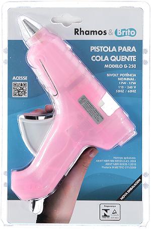 Pistola de Cola Quente (grossa) G-250 Rosa