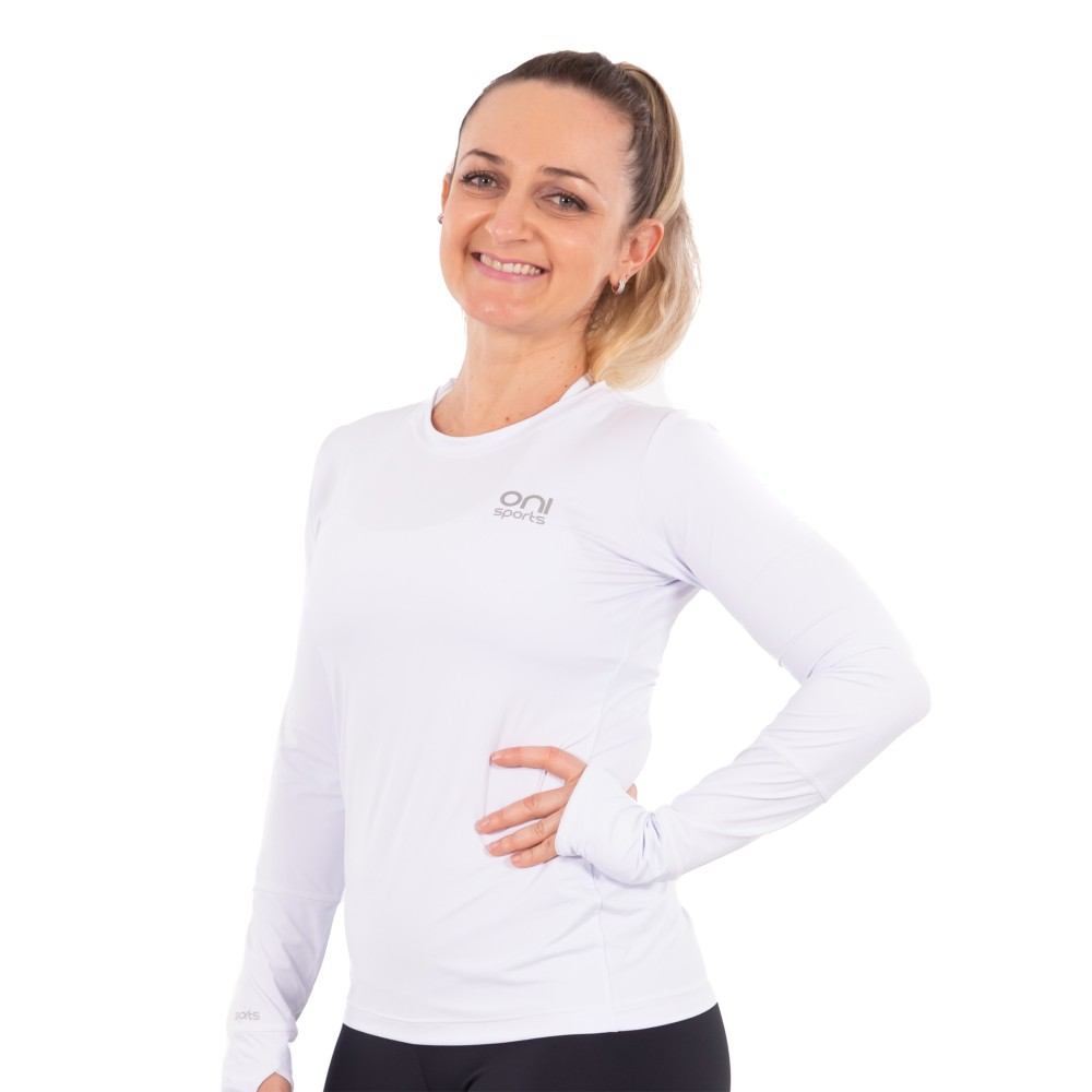 Camiseta Feminina Poliamida Manga Longa Branca