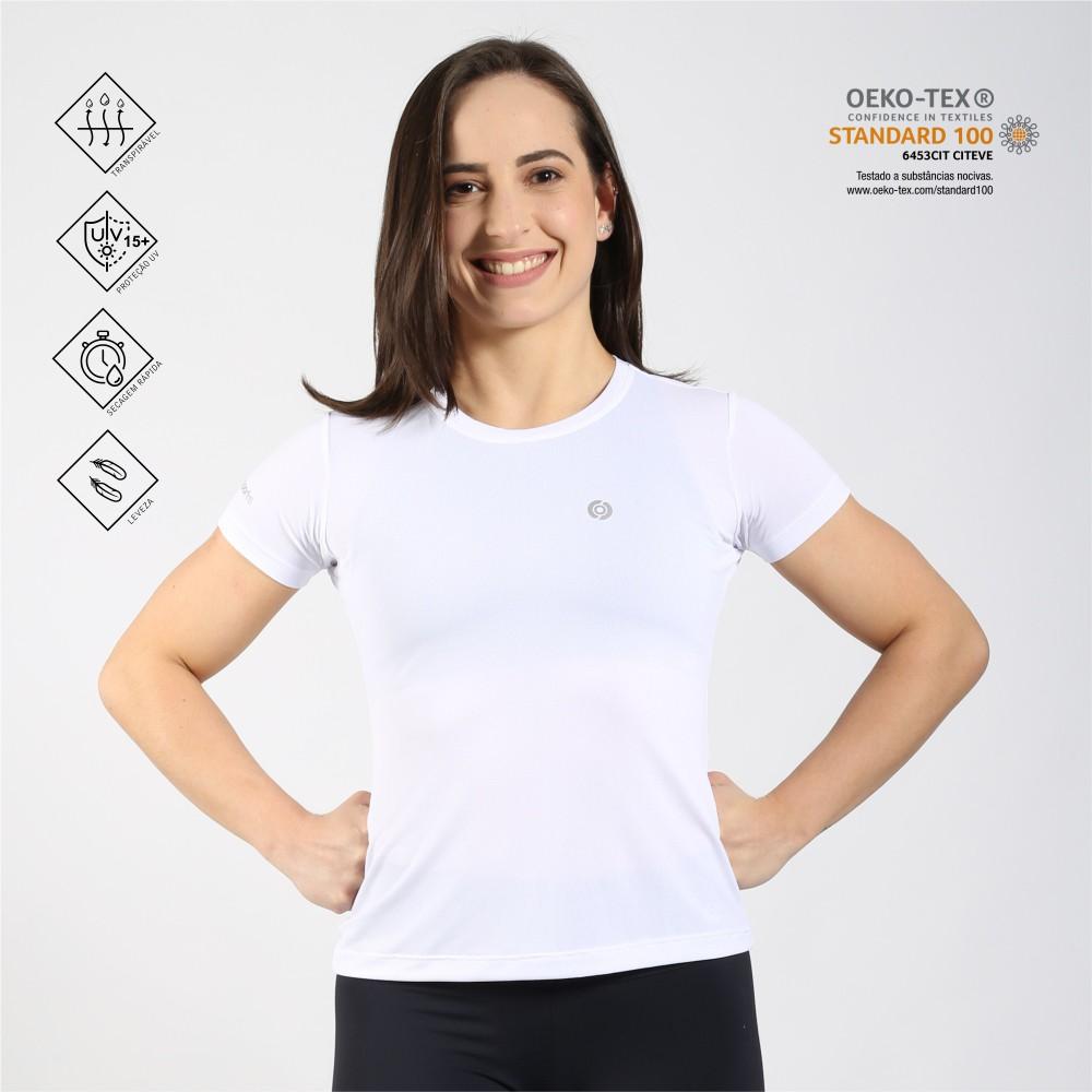 Camiseta feminina poliamida running branca