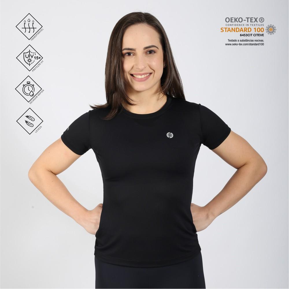 Camiseta feminina poliamida running preta