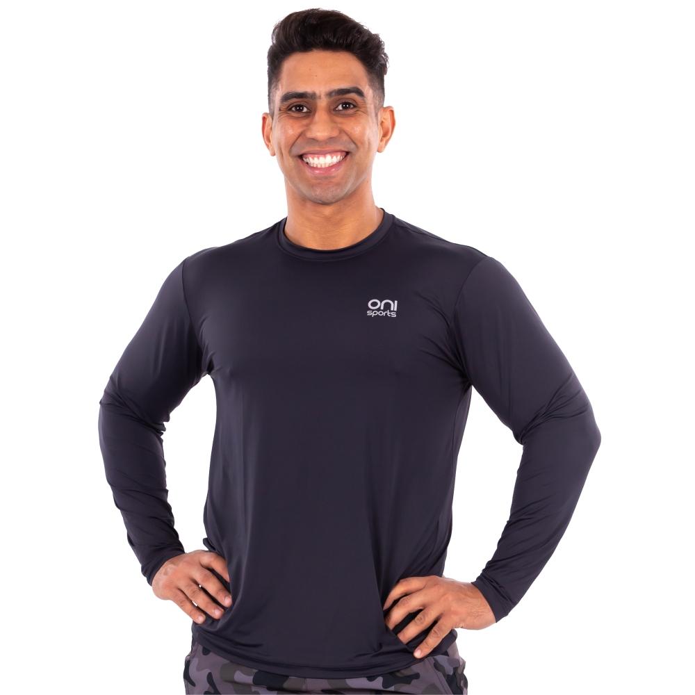 Camiseta masculina poliamida manga longa preta