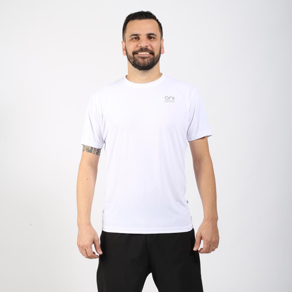 Camiseta masculina poliamida running branca