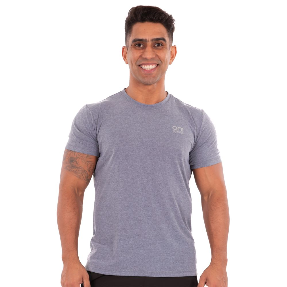Camiseta masculina poliamida running cinza