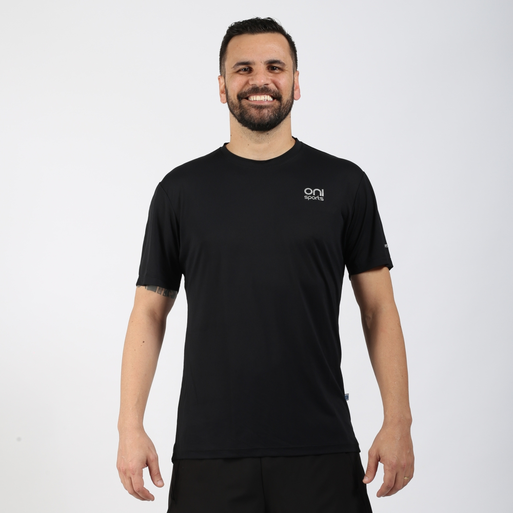Camiseta masculina poliamida running preta