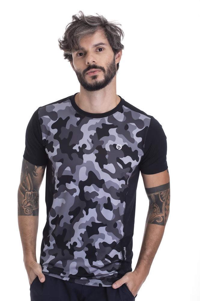 Camiseta Slim Masculina Camuflada Preta