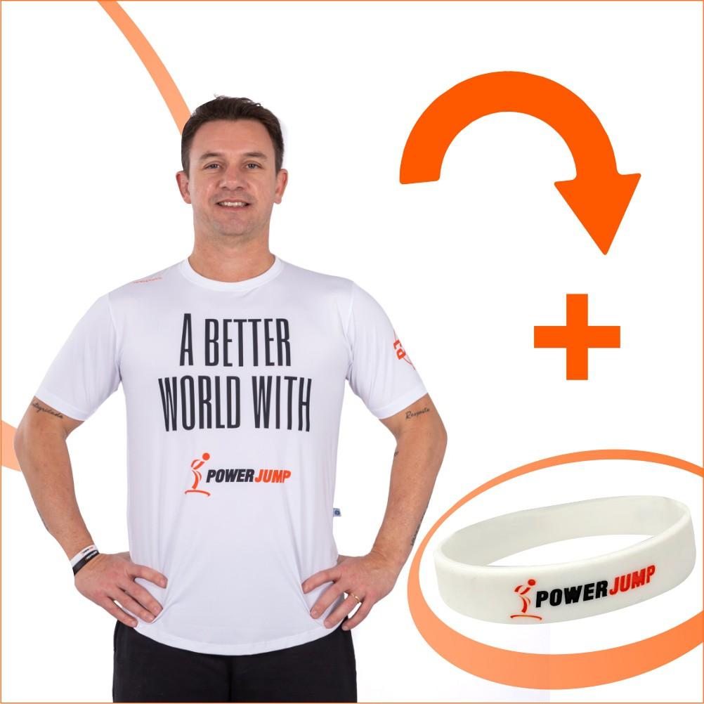 PJ United - 1 Camiseta Branca Masculina PJ United  + 1 pulseira