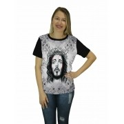 Camiseta Religiosa Feminina Cristo Preto - Frui Vita