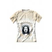 Camiseta Feminina Cristo Salvador Bege Claro - FruiVita