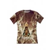 Camiseta Feminina Nossa Senhora Aparecida Marrom - FruiVita