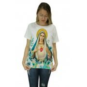 Camiseta Religiosa Feminina Imaculado Coração de Maria Branco - Frui Vita REF: CF-097