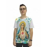 Camiseta Religiosa Masculina Imaculado Coração de Maria Branco - Frui Vita REF: CF-097