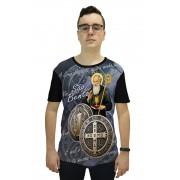 Camiseta Religiosa Masculina Medalha de São Bento Preto - Frui Vita REF.: CF-109