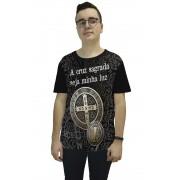 Camiseta Religiosa Masculina Medalha de São Bento Preto - Frui Vita REF: F-021