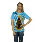 Camiseta Religiosa Feminina Nossa Senhora Aparecida Azul - Frui Vita REF: CF-037