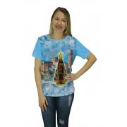 Camiseta Religiosa Feminina Nossa Senhora Aparecida Azul - Frui Vita REF: CF-108