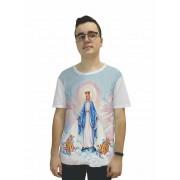 Camisa Religiosa Masculina Nossa Senhora das Graças Frui Vita Branco